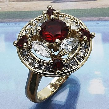 Gold Layered Women Multi Stone Ring, with Garnet Cubic Zirconia, by Folks Jewelry