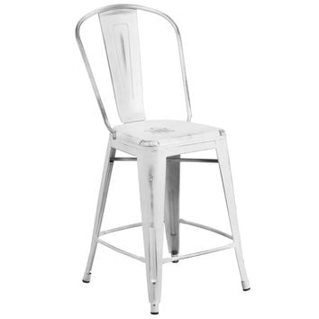 Flash Furniture Distressed White Metal Stool [ET-3534-24-WH-GG]