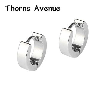 Thorns Avenue High Quality 2PCS/Lot 5 Colors Round Shape Men & Women Punk Stainless Steel Hoop Earrings Jewelry For Party