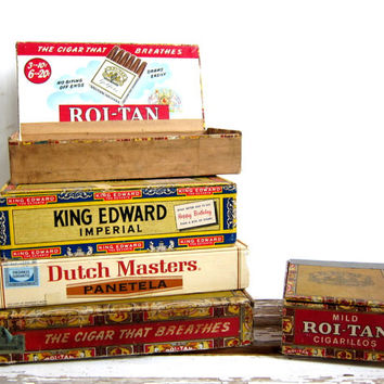 Vintage - Wooden Cigar Boxes / set of 5