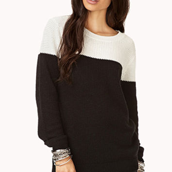 FOREVER 21 Colorblocked Longline Sweater