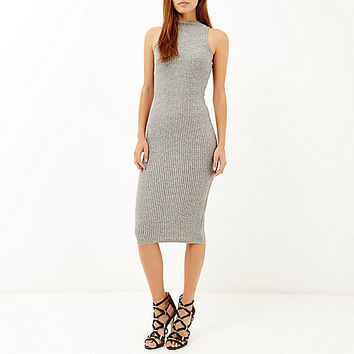 Grey ribbed high neck bodycon dress - bodycon dresses - dresses - women