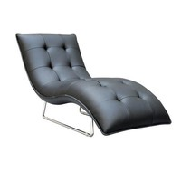 Chrome Plated Black Leather Chaise Lounge Chair