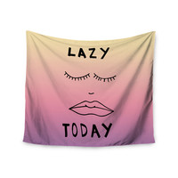 "Vasare Nar ""Lazy Today Tropical"" Yellow Pink Wall Tapestry"
