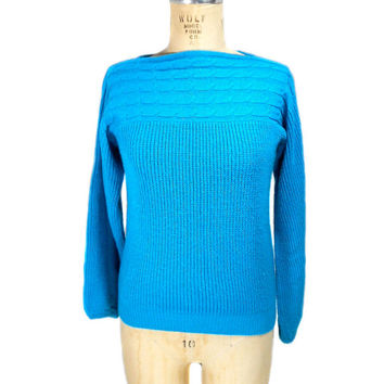 S A L E 1980s Susan Ess Boat Neck Sweater / Blue / Hipster / Knit / Winter / Womens Vintage Sweater / Size Small
