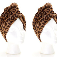 Turbie Twist Cotton Super Absorbent Hair Towel (2 Pack) Leopard Print