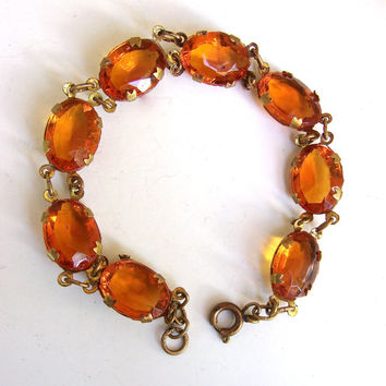 Amber Topaz Glass Art Deco Czechoslovakia Bracelet, Brass Chain, Vintage Antique