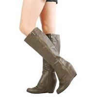 Bamboo Noel05 Olive Side Zipper Hidden Wedge Boots and Womens Fashion Clothing & Shoes - Make Me Chic