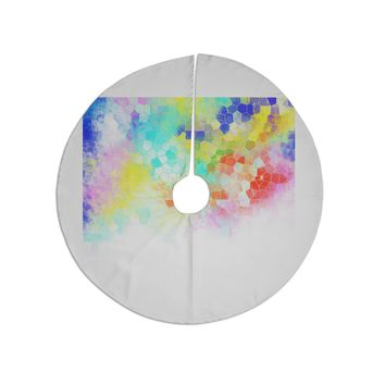 "Dan Sekanwagi ""Color Structure"" Colorful Abstract Tree Skirt"