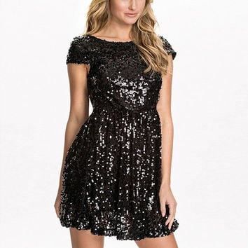 Black Sequined Off Shoulder Mini Dress
