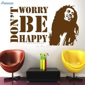 Don't Worry Be Happy BOB MARLEY Music Quote Wall Sticker Vinyl Home Decor Living Room Decoration Mural DIY Removable Decals D590