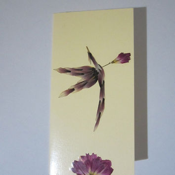 "Handmade unique greeting card ""Amor's arrow"" - Decorated with dried pressed flowers and herbs - Original art collage."