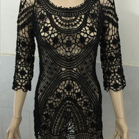 Sexy Beach Crochet Cover Up Women Long Sleeve Hollow Out Mesh Swimwear Coverup Black White See Through Swimsuit Cover Ups-0401