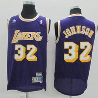 New Los Angeles Lakers #32 Earvin Johnson Retro Basketball Jersey Purple