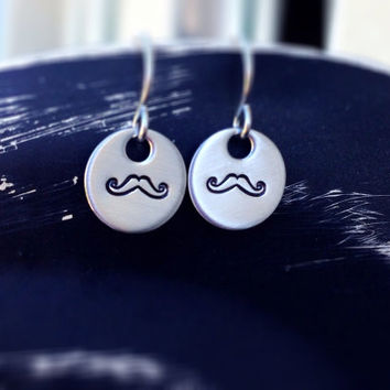 Hand stamped earrings mustache stainless steel by CMKreations