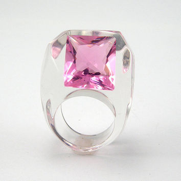 Pink Crystal Ring, Clear Resin Ring with Cubic Rose Zirconia, Modern Jewelry, Pink Ring