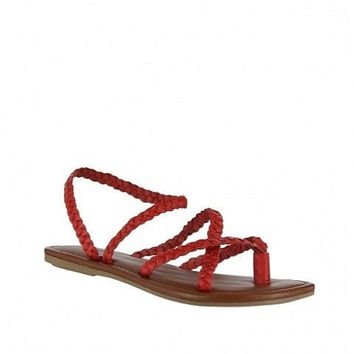 MIA Shoes Red Braided Sandals