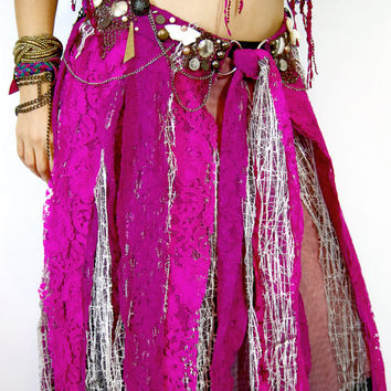 Fringe dance Belt, Tribal Fusion Costume, Pink lace Bellydance piece, Fairy Dancing belt