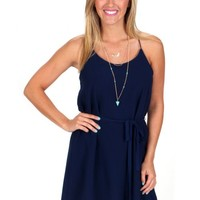 Natural Woman Navy Tie Waist Dress | Monday Dress Boutique