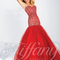 Strapless Sweetheart Formal Prom Dress Tiffany Designs 16013