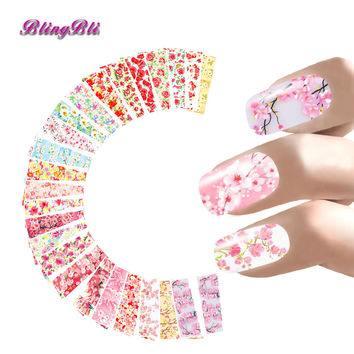 24 Sheets Nail Sticker Flower Water Decals Transfer Foil Rose Peony Sakura Floral Design Nail Wrap For Valentine's Day Nails Art