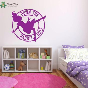 YOYOYU Wall Decal Cartoon Alice In Wonderland Vinyl Wall Stickers Quotes Down The Rabbit Hole Rermovable Kids Rooms Decor SY732