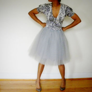 Tutu Cute Skirt - Shorty (Platinum Gray & Other Colors Tulle Knee-length Skirt with Elastic Wasitband)