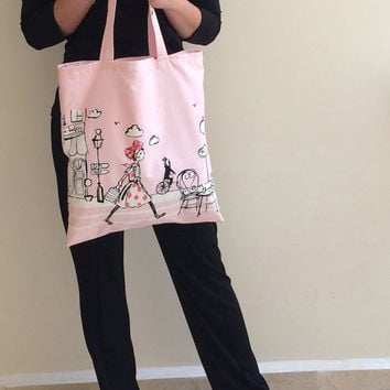 Tote Bag Pink Girl in Paris Patterned Summer Bag Beach Bag with Fabric Lining, Shopping Bag, Gift Ideas for Her