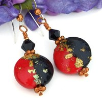 Red Black Gold Polymer Clay Earrings, Swarovski Handmade Beaded Dangle Jewelry