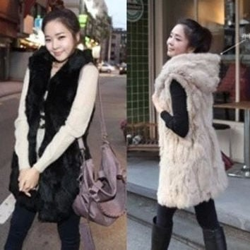 Women's Casual Warm Fluff Splicing Fringed  Paragraph Vest Fur Waistcoat = 1931520708