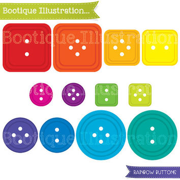 Buttons Digital Clipart. Rainbow Button Clipart Graphics in a range of bright colors. Great for Carmaking and Scrapbooking. Pngs, Jpegs, EPS