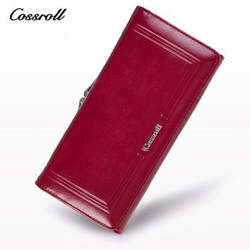 COSSROLL Wallet Female Genuine Leather Women Wallets Luxury Brand Card Holder Female Coin Purses Organizer Small Wallets Cheap