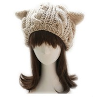 niceeshop(TM) Women Devil Horns Cat Ear Crochet Braided Knit Ski Wool Hat Cap,Beige