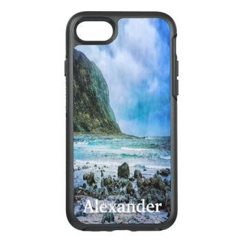 Beach by the ocean a rainy day OtterBox symmetry iPhone 7 case