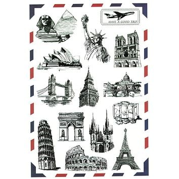 Attractions Postmark Stickers For Box Laptop Suitcase Ipad Phone Personalized Skins