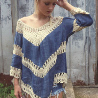 Farewell Summer Crochet Dark Denim Knit Tunic Top