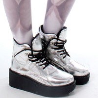 Cyber Space Metallic Silver Man Women Harajuku Platform Hi Top Sneaker Boot Shoe