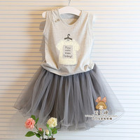 Baby girl clothing sets summer shirt +lace skirt children kids clothes grey color t shirt with grey skirt girl clothes dress