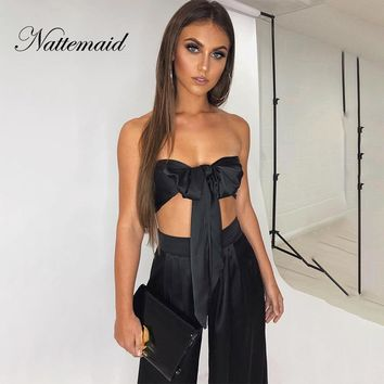 NATTEMAID Backless Sleeveless Off Shoulder 2 Piece Set Women Crop Top And Pants Two Piece Set Slash Neck Sexy Summer Two Piece