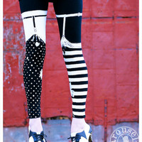 Pippi Leggings - Black and White Striped Legging Polka Dot Legging - Womens Tights