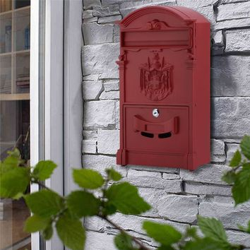 Classic Garden Lockable Wall Mount Secure Post Box Newspaper Letter Mail Box