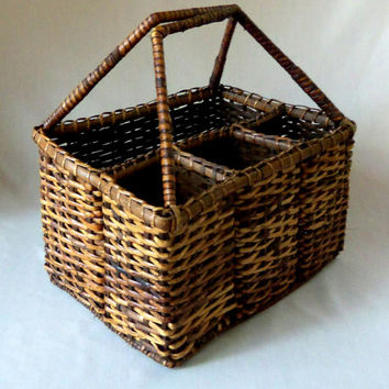 Picnic Basket Wine Carrier Vintage Bottle Caddy