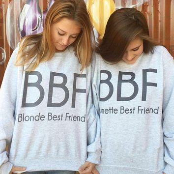 BIONDE/BRUNETTE BEST FRIEND Letter Print Sweater