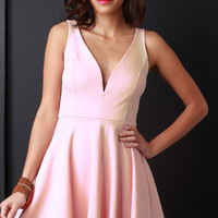 Deep V Sleeveless Fit And Flare Romper Dress