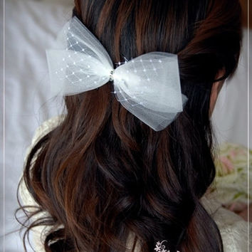 Wedding Tulle Bow Clip or Headband,Flower Girl Bow, Special Occasion Hair Piece