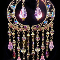 Crystal Celestial Chandelier Earrings- Arabian Nights Fantasy Pink and Purple Moroccan -Long, Dangly, Spiritual, Sparkly- MTO