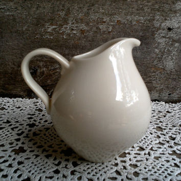 "IRONSTONE CREAMER, Small, Syrup Pitcher, Creamy Off White, 4 1/2"" tall x 4"" wide, Farmhouse, Earthenware, Serving Pitcher, Creamer"