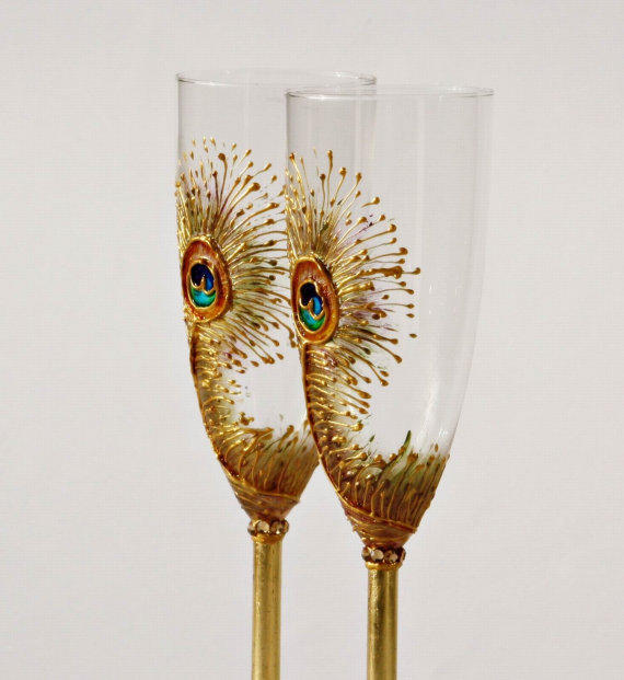 Goldy Peacock Feathers Wedding Toasting by NevenaArtGlass on Etsy