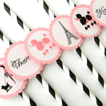 12 Paris Theme Party Straws