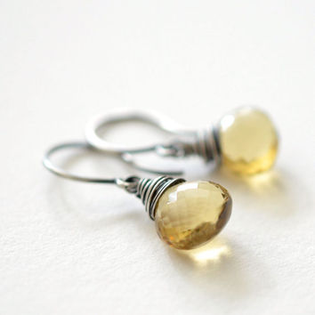 Citrine Earrings Oxidized Sterling Silver, Wire Wrapped Yellow Citrine Briolette Gemstone, Dangle Earrings, November Birthstone